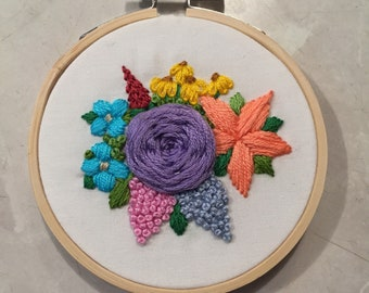 Purple rose tiny embroidery hoop art