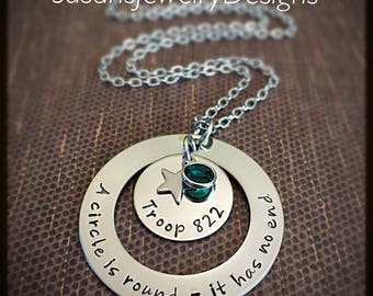 Scout Troop Necklace - A circle is round - stainless steel 1 sided washer and disc & star charm - choice of chain and Swarovski crystal