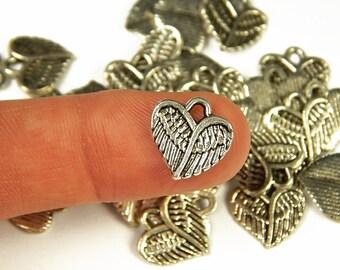 10 Pcs - 13x13mm Tiny Tibetan Heart Wings Charms - Tiny Charms - Jewelry Supplies