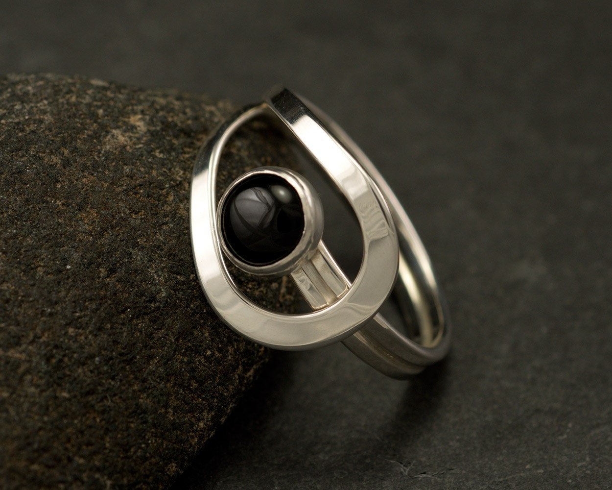 Black Onyx Ring- Black Stone Ring- Sterling Silver Ring- Silver ...