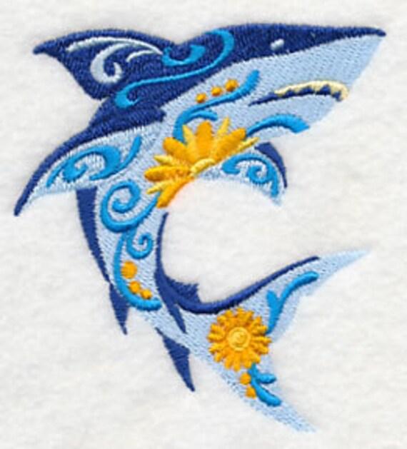 Embroidered Fish Towel Flower Power Shark Flour Sack