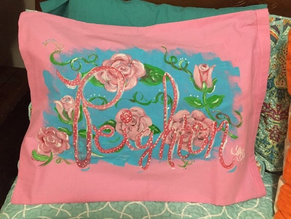 Pretty Roses Personalized Hand Painted Pink Pillowcase | Hand Painted Name on Pillow Case | Uniquely Created Pillowcase