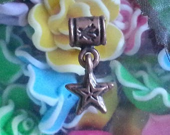 1 Pearl dangles star copper colored metal