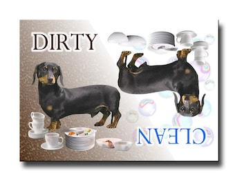 Dachshund Clean Dirty Dishwasher Magnet No 2