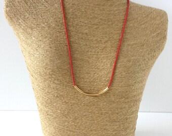 Bar necklace, beaded bar necklace, gold bar necklace,minimalist necklace,dainty bar necklace,red necklace,delicate necklace, dainty choker