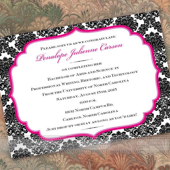 graduation invitations, fuchsia graduation announcements, hot pink graduation invitations, fuchsia grad party, hot pink graduate, IN283