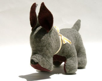 A Gray and Burgandy Cashmere and Wool Terrier