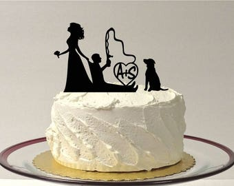 MADE In USA, Personalized Fishing Wedding Cake Topper with Dog, Fishing Themed Wedding Cake Topper, Fishing Topper, Bride Dragging Groom