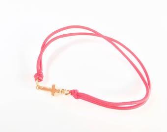 Red Cross Bracelet, Charm Knotted Bracelet, Handmade Red Bracelet, Gold plated Cross Bracelet, Faith Bracelet, Elastic Thread Bracelet