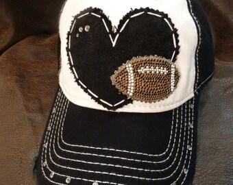 Football love distressed hat