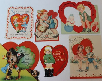 Vintage Racy Valentine Collection 1940's 1950's Set of 5 antique valentine cards vintage valentines