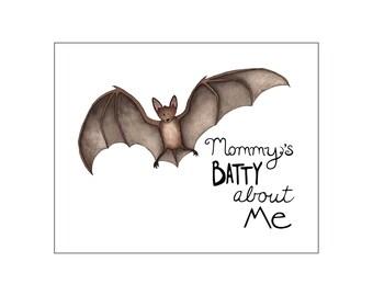 Printable art, Halloween Wall decor, Nursery art print, Bat art, baby room decor, Halloween baby, custom digital, DIY
