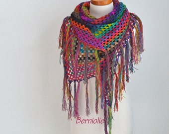 Bohemian crochet shawl with fringe, N365