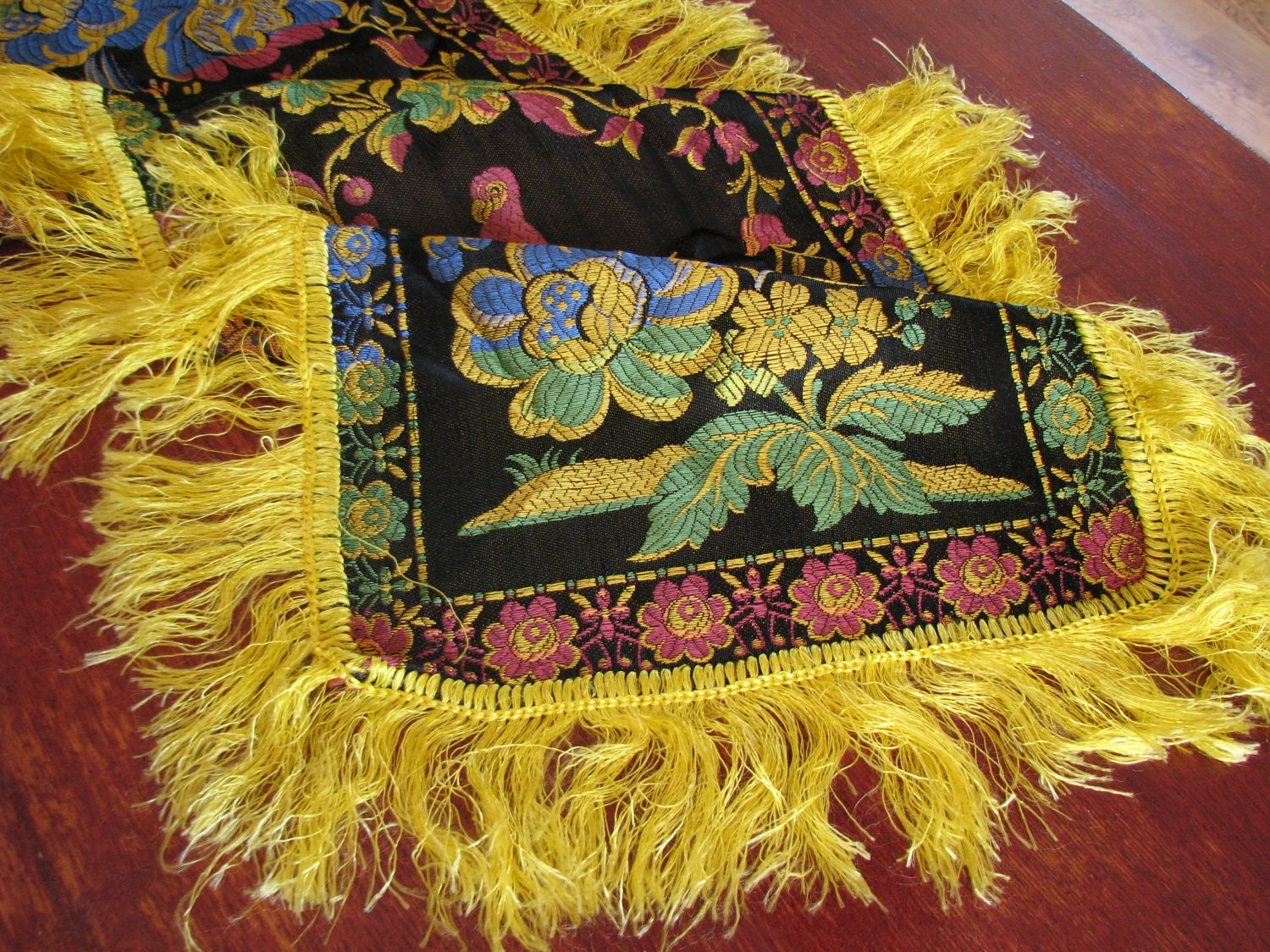 Chinese vintage asian silk blend tablecloth Table mat Chinese