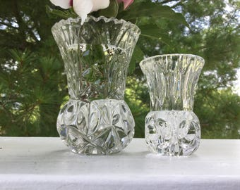 Two Small Glass Vases, Clear Pressed Glass Little Vases Pair