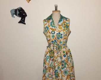 Vintage 70s Cotton Floral Dress