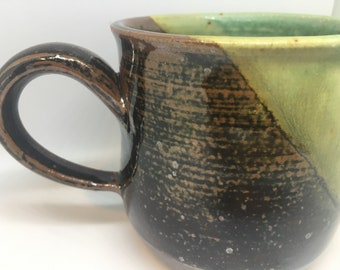 Ceramic, Mug, Pottery Mug, Coffee Mug, Wheelthrown Mug, Handmade, Ceramic Mug, Stoneware, Green Glaze, Brown Glaze, Housewarming Gift