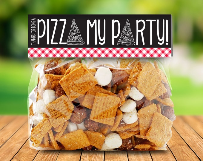 Pizza Party Treat Toppers - Thank You Tag, Pizza Favor, Pizza Birthday, Baggie Topper, Pre-typed | Instant Download DIY Printable PDFs