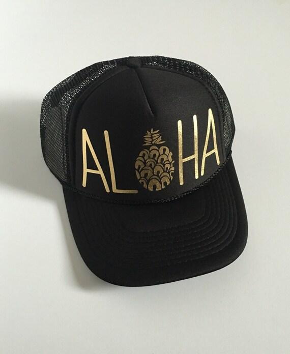 Aloha Trucker Hat| Aloha Hat| Hawaii Hat|Pineapple | Trucker Hat|Beach Hat|Black-Gold Vinyl Print