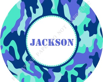 Personalized camouflage melamine plate- Camo plate- Personalized camouflage plate with name- Melamine camouflage plate