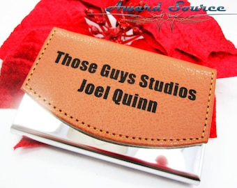 Valentine's Day Gift for Him - Leather Business Card Holder - Free Engraving Choose your own Font - Up to 2 Lines of Text