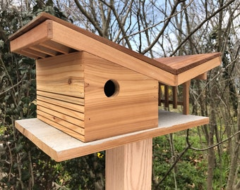 Midcentury butterfly roof birdhouse