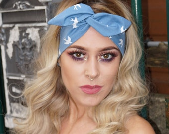 Festival Headband, Blue Bird Vintage, wired Headbad, Blue Headband, Rockabilly, Pin up Headband, Headwrap,