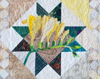 Quilt Pattern - Freesia Applique Art Quilt Pattern - Immediate Download PDF