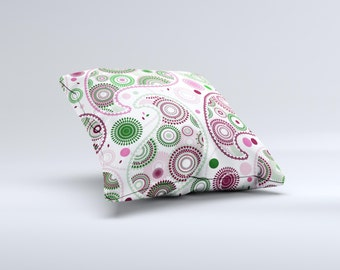 Pink & Green Floral Paisley ink-Fuzed Decorative Throw Pillow