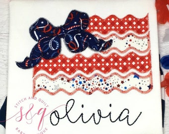 Flag with bow, Girl's 4th of July outfit, Girl's 4th of July shirt, July 4th Shirt, Patriotic, Fourth of July, 4th of July ruffle shorts
