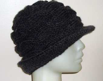 Womens winter hats with brim hat in charcoal grey hand knit hat