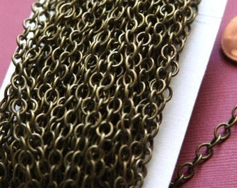 32ft spool of Antiqued Brass Chain round cable chain 4X5mm Soldered Links