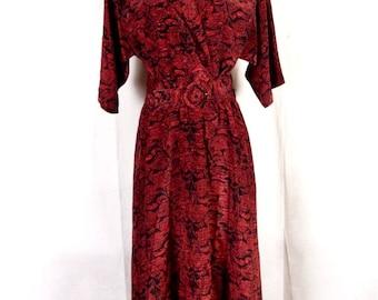 vtg 80s Sandy Sandy Dark Shiny Red A-Line Shirt Dress Big Belt Secretary sz 16