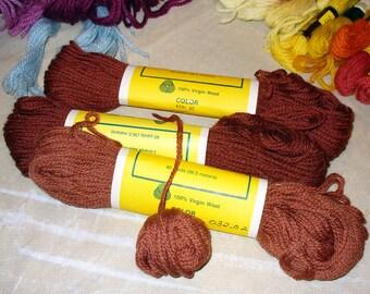 Cinnamon Nutmeg RUST Brown Tan Persian Needlepoint Wool Yarn DESTASH