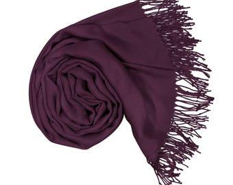 Dark Purple Pashmina Scarf Gift For Her Shawl Pashmina Wrap Pashmina Scarves Wedding Pashminas Bridesmaid Shawls P92