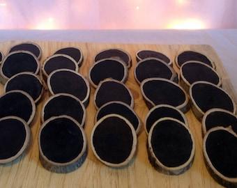 10 Chalkboard Tag, Chalkboard Wood Slice, Rustic Wood Black Slice