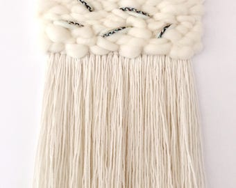 White Fringed Wall Weaving, Fluffy Woven Wall Hanging, White Woven Tapestry, Woven Wall Art, Medium Weaving, Decor for Nursery