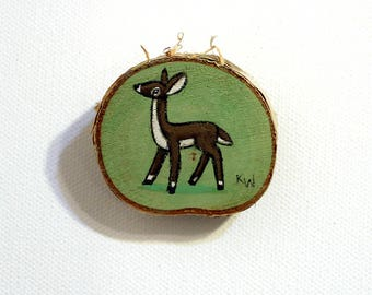 Doe Tiny Painting - Original Wall Art Acrylic on Birch Wood Chip Miniature Painting by Karen Watkins - Deer Artwork