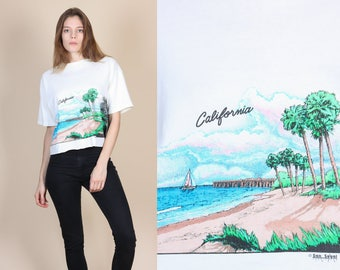 Vintage California Crop Top - XL // 90s All Over Print Cropped Tourist T Shirt