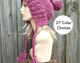 Wild Strawberry Pink Slouchy Hat Pink Knit Hat Womens Hat Pink Hat Pink Beanie - Charlotte Slouchy Knit Hat Ear Flap Hat - 27 Color Choices