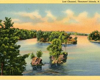 Thousand Islands New York Last Channel St. Lawrence River Vintage Postcard (unused)
