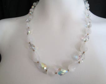 Hand crafted clear and white frosted tear drop beaded necklace gradiated sizes