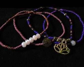 BRACELET SET lotus flower purple silver beads charms Mandala