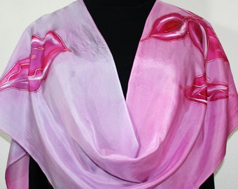 Silk Scarf Pink Hand Painted Floral Shawl CALLA LILIES, in 2 SIZES, by Silk Scarves Colorado. Birthday Gift. Wedding Gift. Bridesmaid Gift