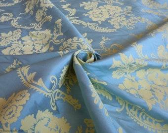 "NEW!! Silk Floral Fabric - Yellow flowers on Blue - Screenprinted low-slub silk dupioni - Gorgeous! - by the yard - 54"" Wide - EP Silk #112"