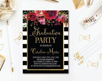 Floral Graduation Invitation - Black Stripe Red Watercolor Floral Graduation Party - Printable Invites