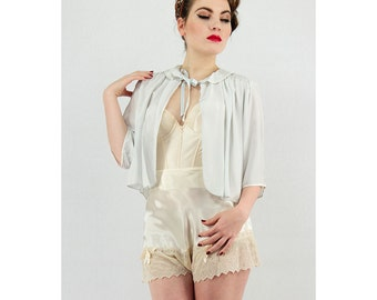 Tap pants / Vintage tap panties / 1930s cream satin and chiffon knickers S M