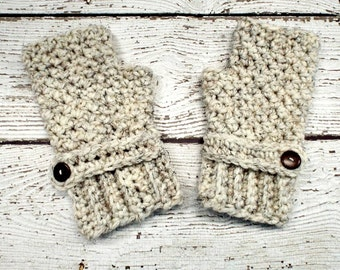 Crocheted Fingerless Womens Gloves Mittens - Chunky Fingerless Gloves in Wheat Cream - Wheat Gloves Wheat Mittens Womens Accessories