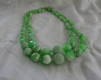 Vintage Multi Strand Spring Green Necklace