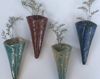 Pottery wall vase, wall sconce, pottery flower pocket, pottery wall hanging, wall decor, wall vase, pocket vase, wall mounted vase